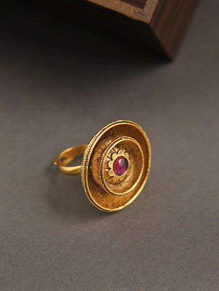 Maroon Gold Tone Temple Work Adjustable Ring