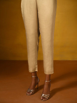 Beige Elasticated Waist Modal Pants