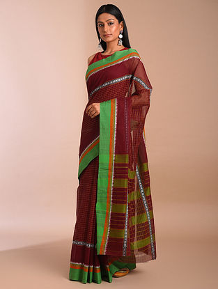 Maroon Handwoven Narayanpet Cotton Saree