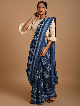 Indigo Dabu Printed Voile Saree