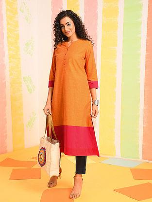 Orange Mangalgiri Cotton Kurta with Kantha Detail