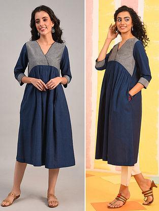 Blue Mangalgiri Cotton Kurta Dress with Kantha Detail