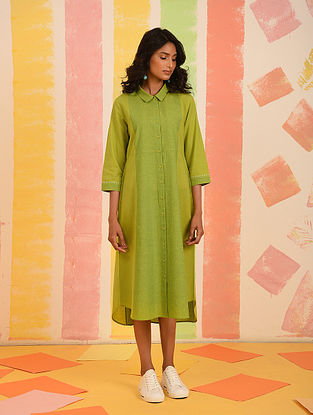 Lime Mangalgiri Cotton Shirt Dress with Kantha Detail