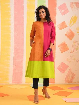 Multicolor Mangalgiri Cotton Kurta with Kantha Detail