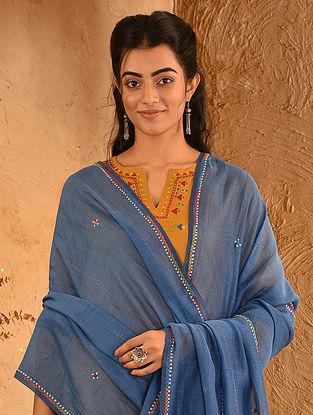 Blue Soof Embroidered Silk Cotton Dupatta With Tassels