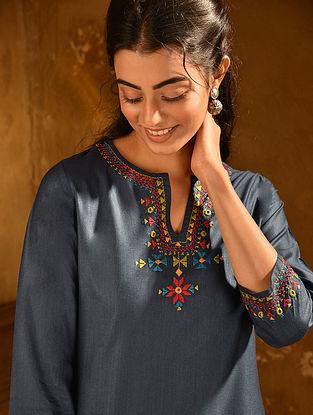 Indigo Soof Embroidered Viscose Silk Kurta