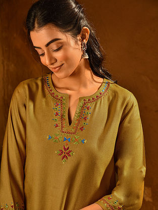 Mustard Soof Embroidered Viscose Silk Kurta
