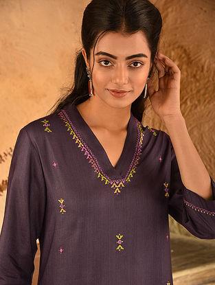 Wine Soof Embroidered Viscose Silk Kurta