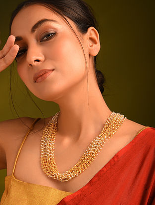 Gold Tone Pearl Beaded Layered Necklace