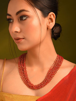 Red Gold Tone Beaded Layered Necklace