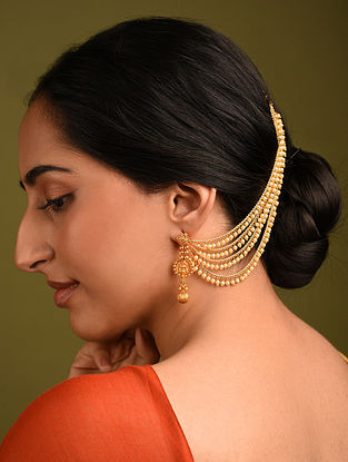 Gold Tone Beaded Layered Ear Chains