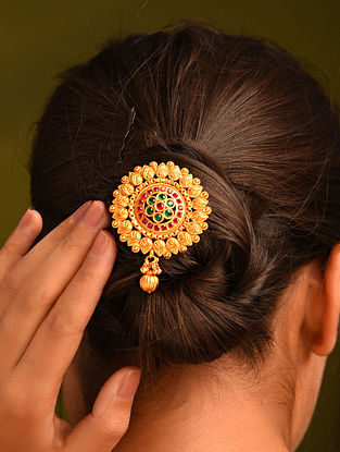 Green Pink Gold Tone Temple Work Hair Pin