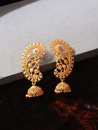 Gold Tone Temple Work Jhumki Earrings
