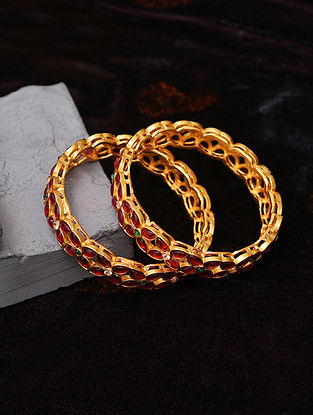 Pink Green Gold Tone Temple Work Bangles