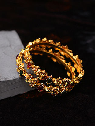 Green Red Gold Tone Temple Bangles (Set of 2)