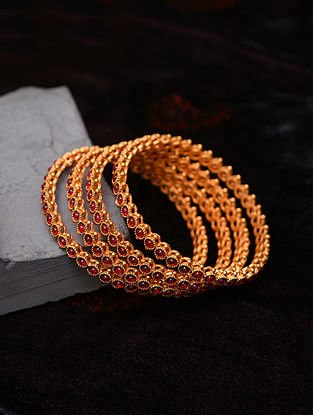 Pink Gold Tone Temple Bangles (Set of 4)