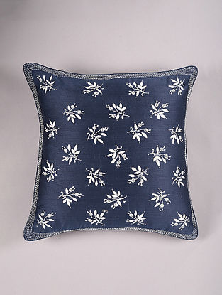 Hand Embroidered Chikankari Blue Chanderi Cushion Cover (L - 16in,W - 16in)