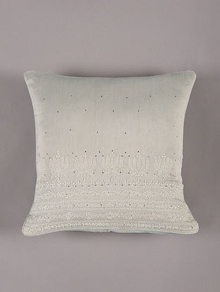 Hand Embroidered Chikankari Grey Chanderi Cushion Cover (L - 16in,W - 16in)