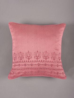Hand Embroidered Chikankari Onion Chanderi Cushion Cover (L - 16in,W - 16in)