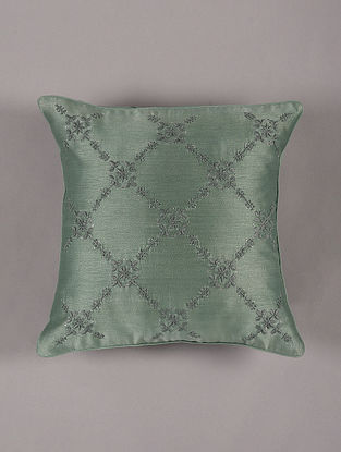 Hand Embroidered Chikankari Teal Chanderi Cushion Cover (L - 16in,W - 16in)