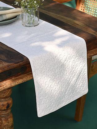 Hand Embroidered Chikankari White Cotton Runner (L - 71in,W - 13in)