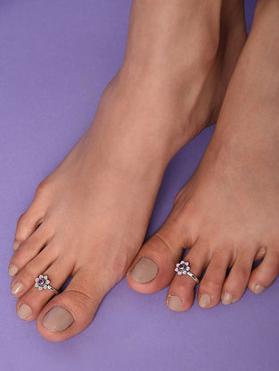 Red Tribal Silver Toe Rings