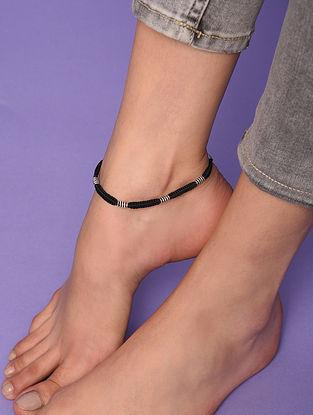 Black Tribal Silver Anklet