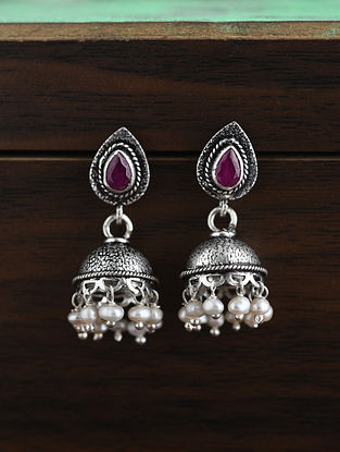 Maroon Tribal Silver Earrings With Pearls