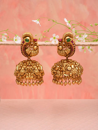 Pink Gold Tone Temple Work Jhumki Earrings