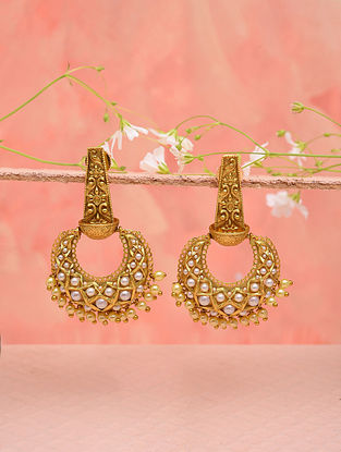 White Gold Tone Temple Work Earrings