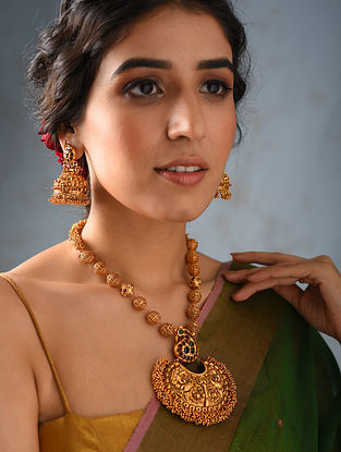 Pink Gold Tone Temple Work Necklace With Jhumki Earrings