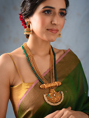 Green Gold Tone Temple Work Necklace And Jhumki Earrings With Pearls
