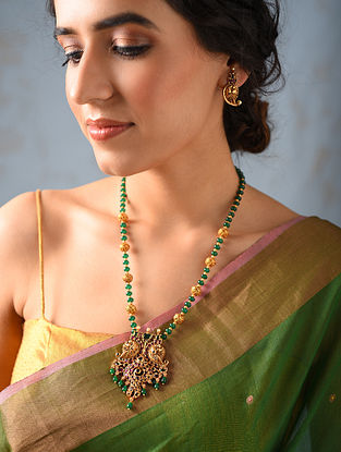 Green Pink Gold Tone Temple Work Necklace With Earrings