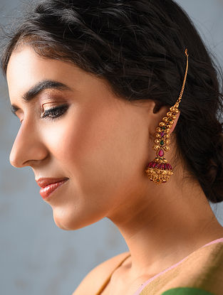 Pink Green Gold Tone Temple Work Earrings With Ear Chains