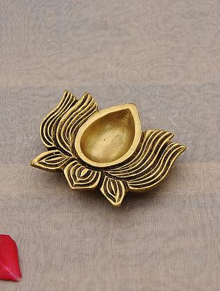 Brass Handcrafted Lotus Diya (L - 2.5in, W - 3.2in)