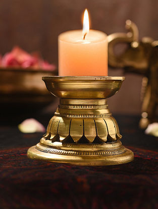 Brass Handcrafted Round Candle Holder (L - 4.5in, W - 4.5in, H - 3.5in)