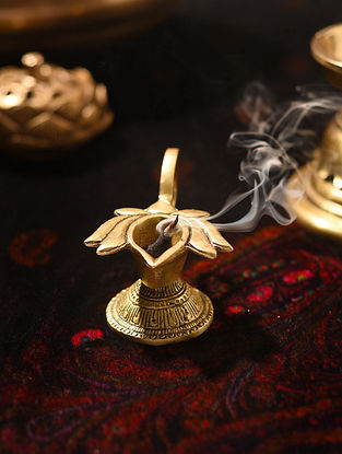 Brass Handcrafted Lotus Flower Oil Lamp (L - 3.3in, W - 2.3in, H - 2.1in)