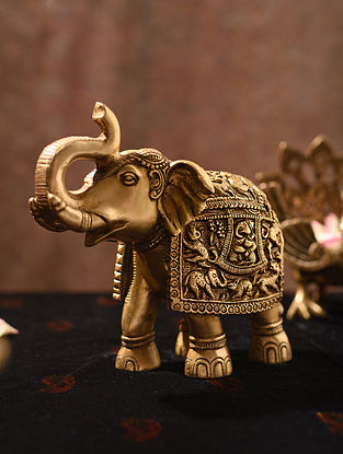Brass Handcrafted Elephant with Ganesha and Animal Carving (L - 9in, W - 3.2in, H - 7.5in)
