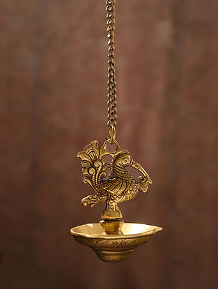 Brass Handcrafted Peacock Hanging Oil Lamp (L - 3.2in, W - 3.2in, H - 16.2in)