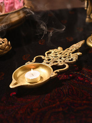 Brass Handcrafted Aarti Spoon with Large Diya and Carved Handle (L - 11.5in, W - 4in)
