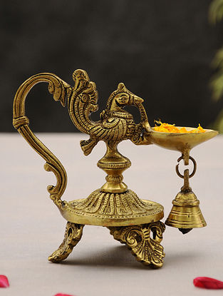 Brass Handcrafted Peacock Diya with Bell and Three Leg Base (L - 5.2in, W - 3in, H - 5in)