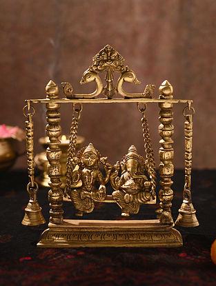 Brass Handcrafted Lakshmi Ganesha Swing (L - 2.3in, W - 8.3in, H - 9.7in)
