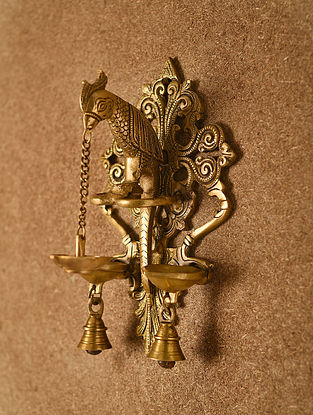 Brass Handcrafted Parrot Oil Lamp with 3 Diyas (L - 10.2in, W - 6.2in, H - 4.1in)