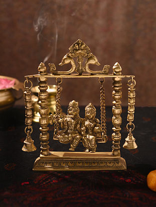 Brass Handcrafted Radha Krishna Swing (L - 2.3in, W - 8.6in, H - 10in)