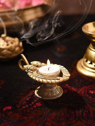 Brass Handcrafted Lakshmi Ganesha Oil Lamp (L - 4.3in, W - 2.5in, H - 2.5in)