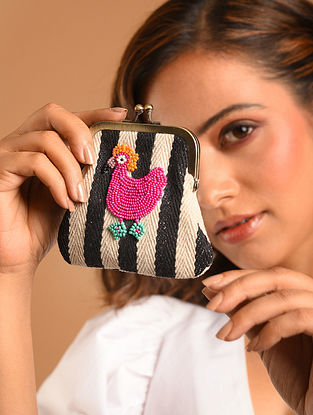 Multicolored Beaded Jacquard Coin Pouch