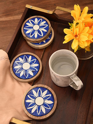 Indigo Blue Handcrafted Round Coasters (Set of 4)