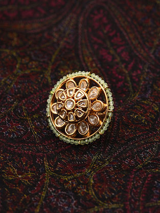Green Gold Tone Kundan Beaded Ring