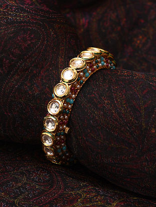 Multicolored Gold Tone Kundan Openable Bangle (Bangle Size-2/5)
