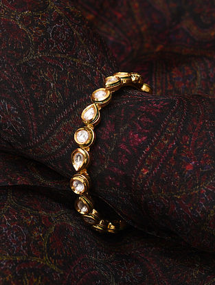Gold Tone Kundan Openable Bangle (Bangle Size-2/5)